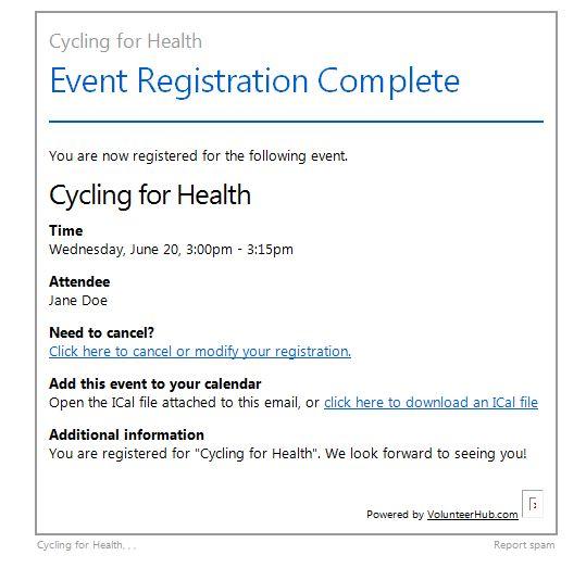 Volunteer Event Registration Email
