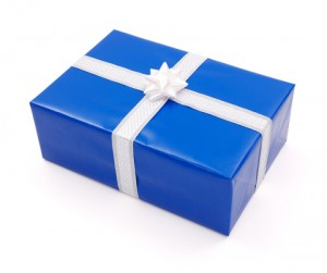 blue white gift wrapped