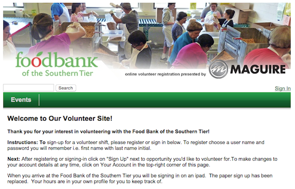 Food Bank Southern Tier Volunteer Site