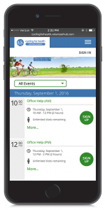 VolunteerHub's user interface on mobile