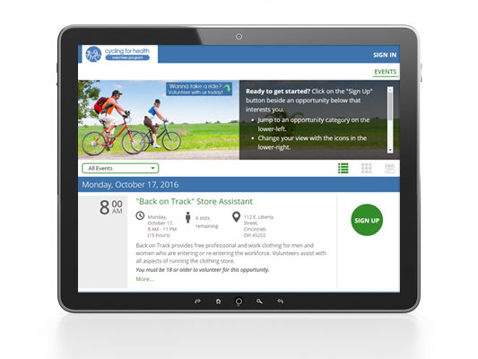 Volunteerhub's new user interface on a tablet