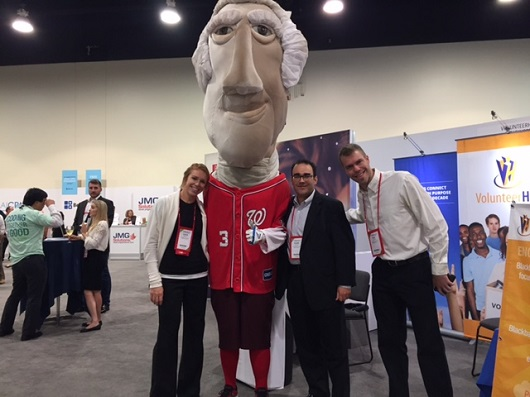 VolunteerHub Team with Presidential Mascot from the Washington Nats